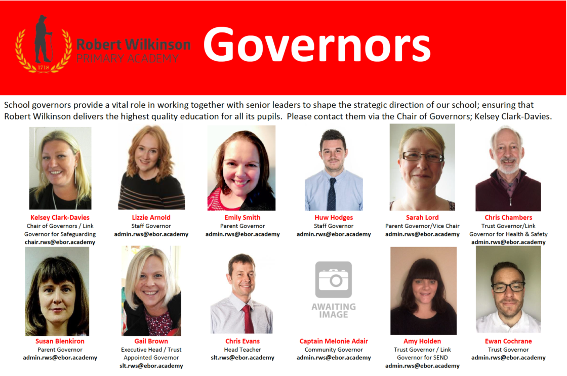 Poster showing the school governors